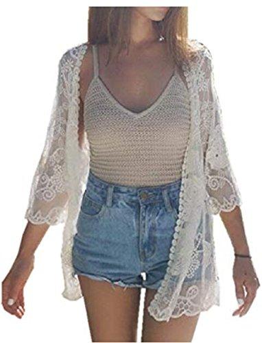 Yomie Bikini Cover Up Bikini Bluse Spitze 1/2 Hülsen Strandkleid Damen Push Up Strandponcho Sommer Kleid Bikini Überwurf Kaftan Strick Cardigan Kimono