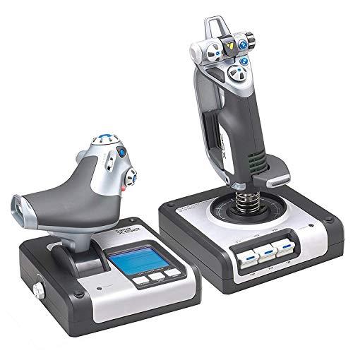 Logitech G Saitek X52 Flight Control System, Schubregler und Stick-Flugsimulationscontroller für Weltraum-Simulationen, LCD-Display, Beleuchtete Tasten, 2x USB-Anschluss, PC - schwarz/silber