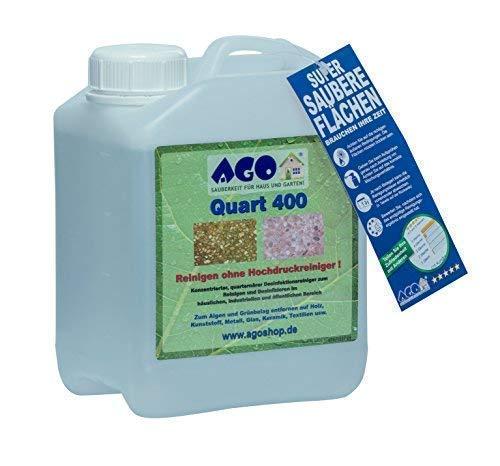 AGO® Quart 400 Grünbelag Entferner I Chlorfrei & Säurefrei I 2L Flechten & Algen Entferner Reiniger-Konzentrat für 400qm