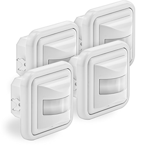 deleyCON 4X Infrarot Bewegungsmelder Unterputz Wandmontage Innenbereich Lichtsteuerung 160° Arbeitsfeld 9m Reichweite eingebauter Lichtsensor Weiß
