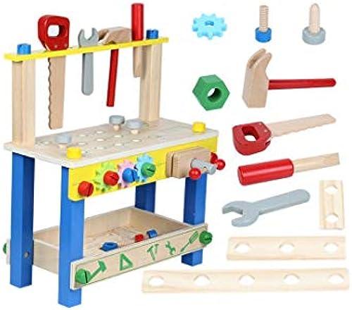 KTYXGKL Kindersimulation Holz Werkzeugtisch Luban Stuhl Junge Spielzeug Puzzle Spiel Haus Mutter Montage 36x16x41cm Lernspielzeug für Kinder