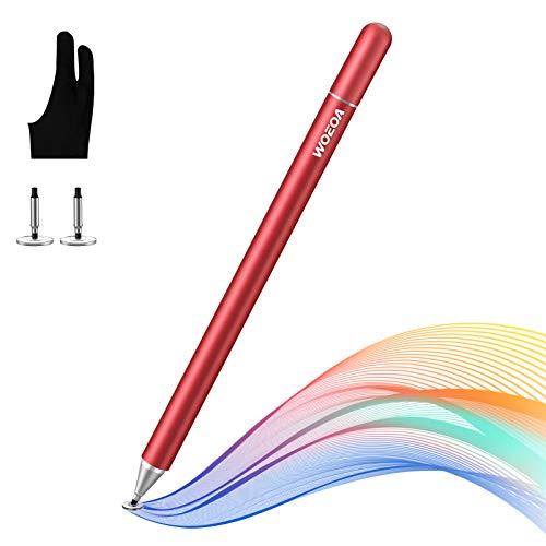 WOEOA Lápiz Stylus Capacitivo Universal, Stylus Pen 2 in 1 Bolígrafos Digitales para Pantalla Táctil Ipads, iPad Mini,Samsung,Teléfonos móviles,Smartphones y Tabletas(con Dibujo Guante)