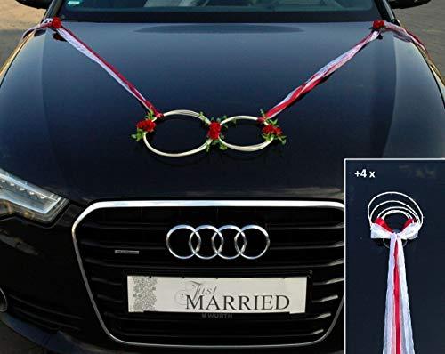 SANFTES Ringe Braut Paar Rose Deko Tauben Herze Dekoration Hochzeit Car Auto Wedding Deko (rot)