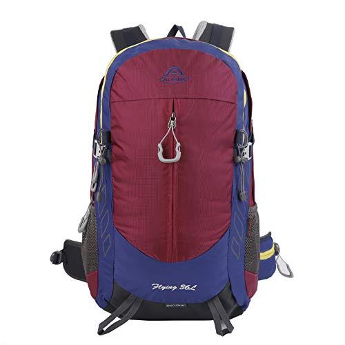 LOCAL LION Wanderrucksack Trekkingrucksack Rucksack 30L 40 Liter für Damen und Herren mit Tragegestell Regenhülle wasserdicht zum Bergsteigen Wandern Reisen violett