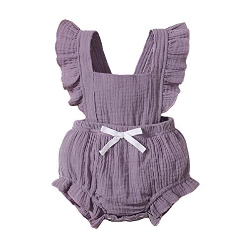 Body Infantil para bebés, bebés recién Nacidos con Volantes Mamelucos sin Mangas Mono Trajes Ropa (80cm (6-12meses), púrpura)