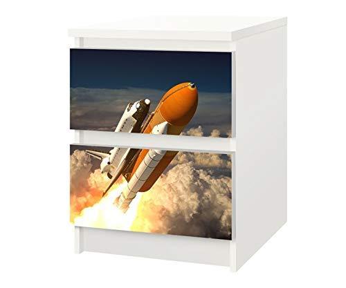 Set Möbelaufkleber für Ikea Kommode MALM 2 Fächer/Schubladen Weltraum Rakete Space Kat13 Shuttle Himmel Aufkleber Möbelfolie sticker (Ohne Möbel) Folie 25F731