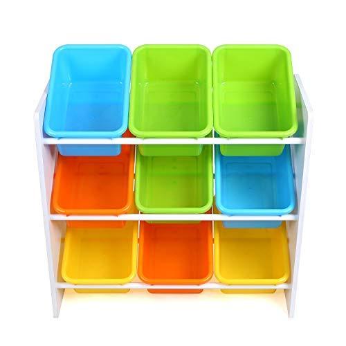 Homfa Scaffale Porta Giocatoli con Scatole per Bambini con maneggiare Organizzatore Portagioccatoli Scaffale Legno con 9 Cesti in Plastico 65 × 26.5 × 60cm