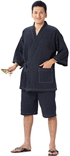 WATANOSATO Jinbei 'shrink textile' made in Japan Import Japanese clothes size men's (Large Size, Navy Blue) …