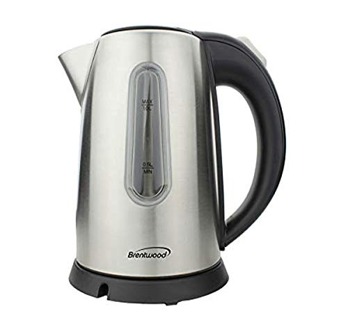 Brentwood Appliances KT1710S 1-Liter Stainless Steel Cordless Electric Kettle (Silver), 1Lt