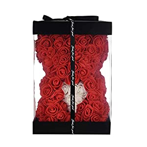 Silk Flower Arrangements Rose Flower Bear - Over 250+ Flowers on Every Rose Bear - Gift for Mothers Day, Valentines Day, Anniversary & Bridal Showers - Clear Gift Box Included!10 Inches Tall (red)