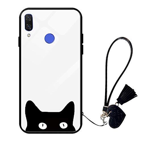 Oihxse Moda Case Compatible para Realme X50 Funda Vidrio Templado con Cuerda Cordón TPU Silicona Suave Bumper Cover Anti-Choques Anti-Rasguños Cáscara de Cristal Estuche,A4