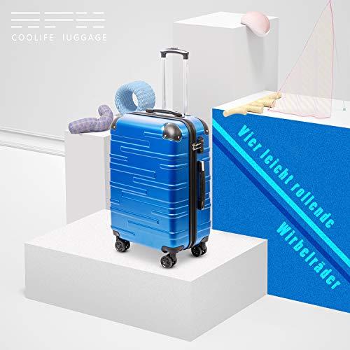 COOLIFE COOLIFE Hartschalen-Koffer Rollkoffer Reisekoffer Vergrößerbares Gepäck (Nur Großer Koffer Erweiterbar) ABS Material mit TSA-Schloss und 4 Rollen (Blau, Mittelgroßer Koffer)