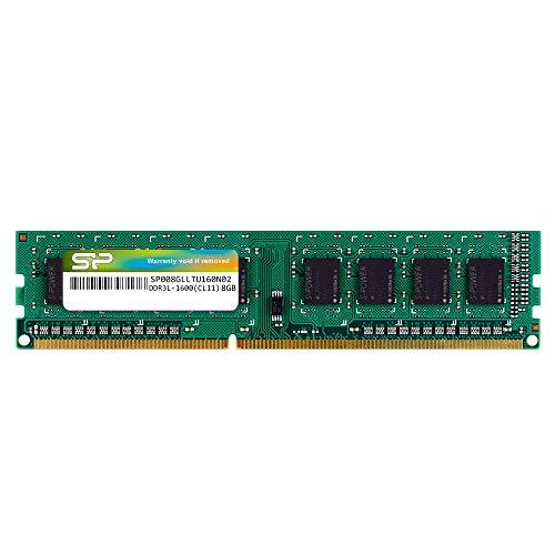 Silicon Power 8GB-DDR3L-RAM-1600MHz (PC3 12800) 240 Pin CL11 1.35V Non-ECC Unbuffered UDIMM-Desktop Memory Module – Bajo Voltaje y Ahorro de energía