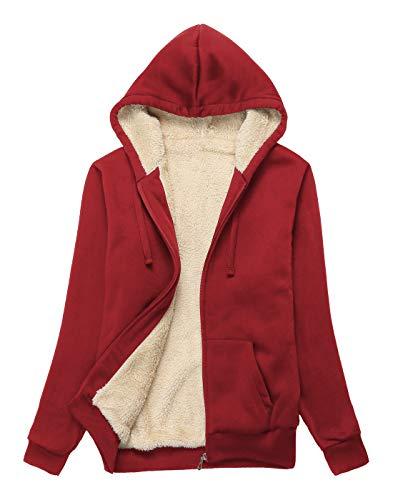 ZITY Womens Winter Fleece Jacket Coat Sherpa Lined Full Zip Up Hoodie Sweatshirt with Pocket Wine Red-L