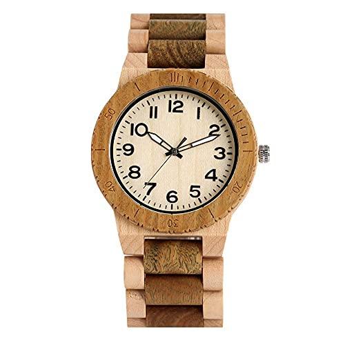 HYLX Regalo Creativo Reloj de Madera de Cuarzo conciso para Hombres, Arce Natural, Verde, Correa marrón, Relojes de Madera para Mujer, Fascinante Esfera Grande con punteros Luminosos Reloj de pul