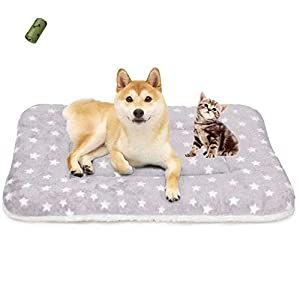 MICROCOSMOS Ultra Soft Pet (Dog/Cat) Sleeping Bed & Pad; Crate Mat; Machine Washable(31.5″x22.5″, Little Stars)