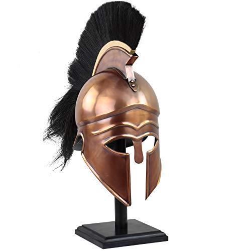 Medieval Warrior Greek Corinthian Wearable Armor Helmet with Plumes & Hairs | Leather Liner | Roman Trojan Warrior Knight Spartan LARP Costume Silver (Corinthian Copper)