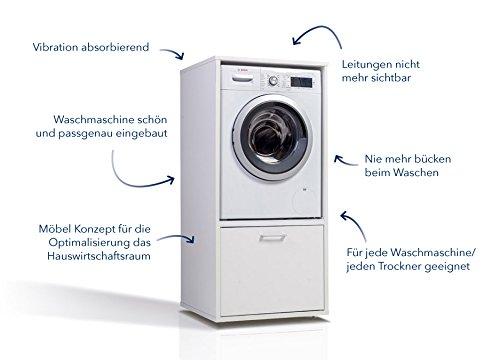 Waschmaschinenschrank - Der Waschturm - Basismodel - TÜV zertifiziert - Stabil - Höhenverstellbar - 146 cm x 67 cm x 65 cm (Basis)