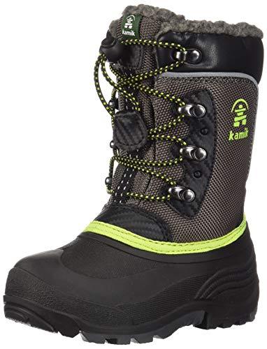 Kamik Boys' Luke Waterproof Winter Boot Grey Lime 1 Medium US