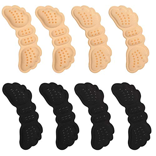 VABNEER 4 paia Cuscini per Tallone Cuscinetti per Scarpe Solette Tallone per scarpe troppo grandi protettori da scivolamento e sfregamento (Nero & Beige)