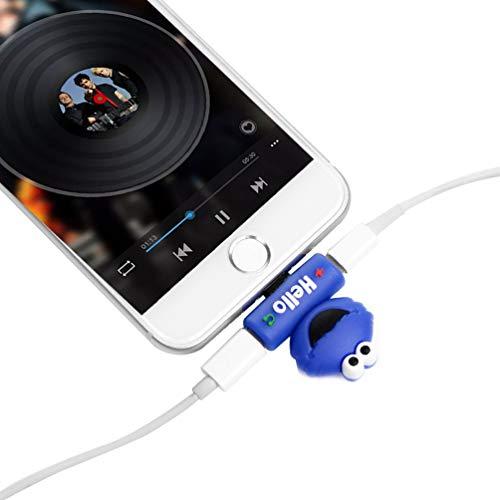 Vogu'SaNa Adaptador 2 en 1 para auriculares (audio + carga), cable convertidor de auriculares, conector jack hembra, divisor de cable, compatible con iPhone, color azul