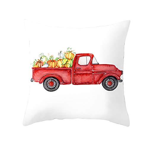 Fall Halloween Pumpkin Pillow Case Waist Throw Cushion Cover Sofa Home Decor, Pillow Case for Halloween Day (F)