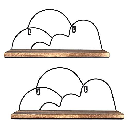 DGDF Estantes flotantes, Conjunto de 2 Pantallas de Pared de Madera rústica de diseño de Nubes para guardería, Dormitorio, baño, Cocina, Oficina