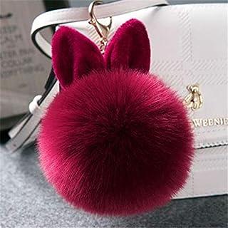 JJESC Keychains Fake Rabbit fur ball key chain fluffy Bag Charms bunny keychain Keyring (Color : Wine)