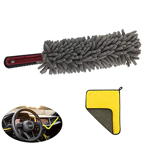 RCCT Car Duster Brush/Soft Microfiber Auto Accessories Dash Dusting Brush/Best Vehicle Interior Dirt Care Cleaning Tools/Multipurpose for Wash Home Kitchen Dirt/Save Space