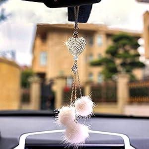 車ペンダントクカーアクセサリーカー飾り車のバックミラーサスペンションアクセサリーハート形のクリスタルと豪華なボールタッセル車の装飾,White