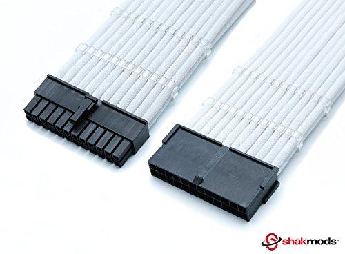 Shakmods - Cable alargador de 24 Pines ATX para Placa Base (Incluye 2 peines de 30 cm), Color Blanco