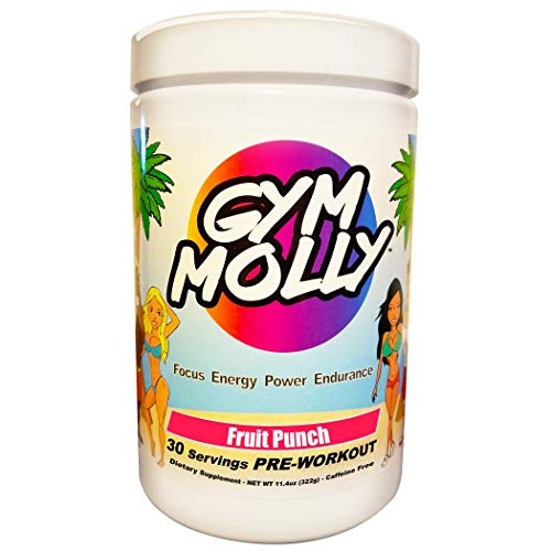 Gym Molly Caffeine Free Pre Workout Powder Energy Drink Supplement | BCAAs | 0 Carbs | for Men & Women, Fruit Punch (30 Servings, 11.4 oz)