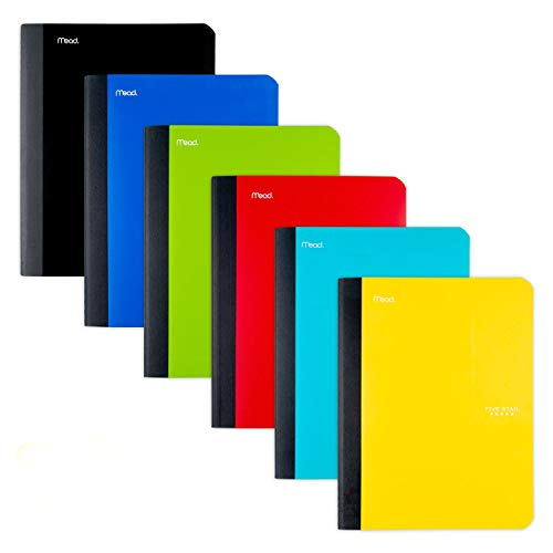 """Five Star Composition Notebooks, College Ruled Comp Book, Writing Journal, Lined Paper, Home School Supplies for College Students & K-12, 100 Sheets, 9-3/4"""" x 7-1/2"""", Assorted Colors, 6 Pack (72944)"""