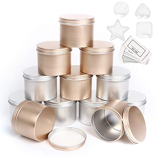 Metal Candle Tin 12 Pcs, 4.2 oz, Round Candle Jars Empty Containers with Screw Lids for DIY Candle Making, with 4 Plastic Candle Making Cup