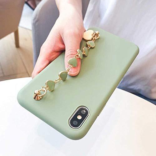 LIUYAWEI Estuche para teléfono con Pulsera para Samsung Galaxy A50 A51 A71 A70 A30 A20 S9 S8 S10 S20 Plus Ultra Note 8 9 10 Plus Estuche para Correa de muñeca, Verde con Pulsera, para S10 Plus