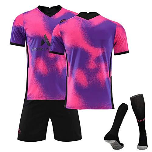 Uniforme de camiseta de fútbol de París para hombre y niños, Mbappe Neymar JR Di Maria, 2020 ~ 2021 (cuatro), chándal de entrenamiento de fútbol, regalo para aficionados, juego de 3 piezas