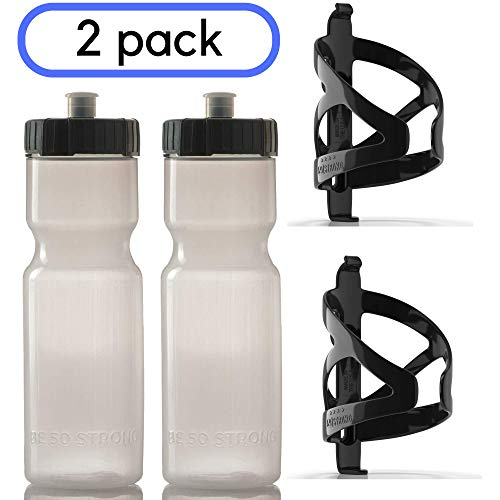 50 Strong Bike Bottle Holder with Water Bottle - 2 Pack - 22 oz. BPA Free Bicycle Squeeze Bottle and Durable Plastic Holder Cage- Made in USA (Clear)