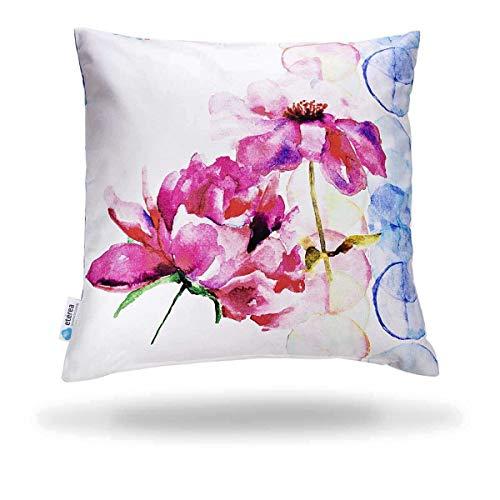 etérea 100% Baumwolle Dekokissenhülle Kissenbezug Kissenhülle, Blumen Gemalt Pink, 40x40 cm