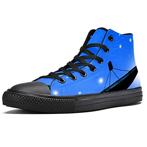TIZORAX High Top Sneaker für Herren, Satellitenschüssel, Druck, modische Schnürschuhe, Canvas-Schuhe, Mehrfarbig - mehrfarbig - Größe: 42 1/3 EU
