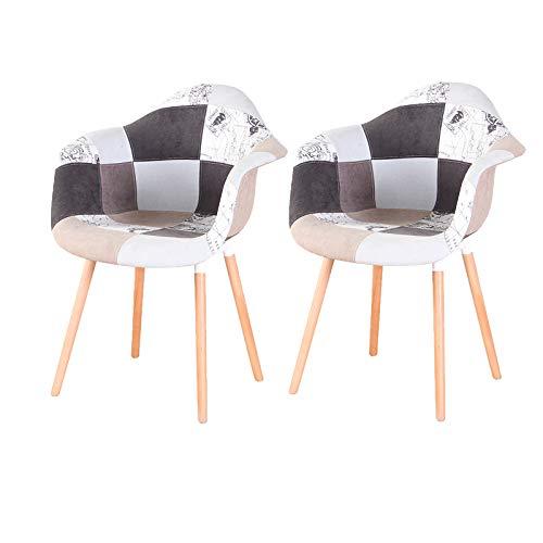 GroBKau - Set di 2 poltrone Patchwork in tessuto di lino per il tempo libero e il salotto, sedia angolare con schienale morbido (blu chiaro)