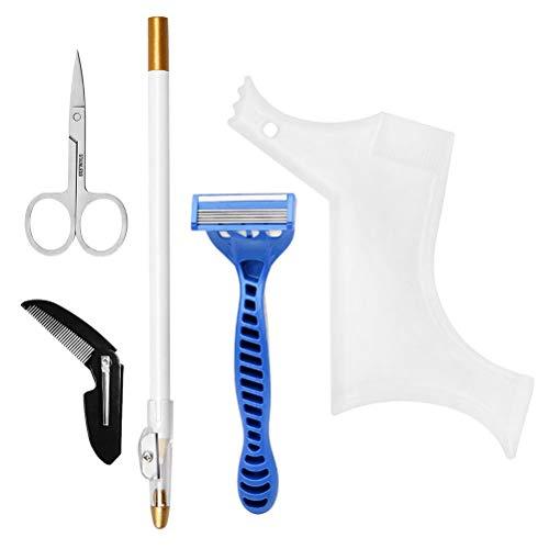 Minkissy Conjunto de Kit de Aseo de Barba Peine de Forma de Cepillo Peine Guía de Barba Tijeras de Recorte Herramienta de Peinado para Hombres