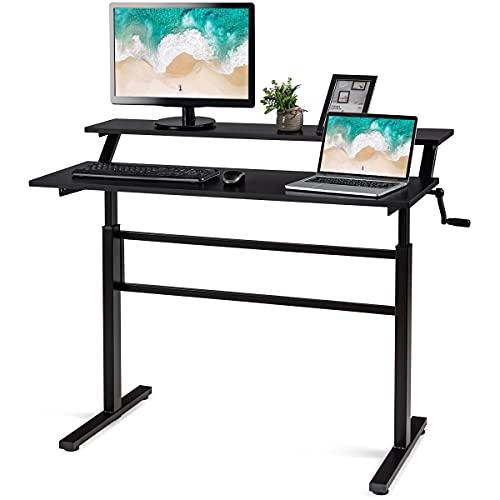 COSTWAY Schreibtisch höhenverstellbar, Stehtisch mit Monitor Regal, Sitz-Steh-Schreibtisch ergonomisch, Arbeitstisch mit Handkurbel, Computertisch für Arbeitszimmer Zuhause (Schwarz)