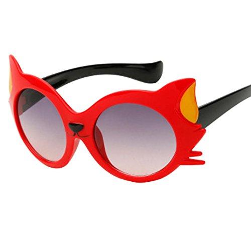Gafas de Sol Bebe Niña, Zolimx Bebé Niño Gafas de Sol NiñO Gato Historieta UV400 de 3-12 Años (Rojo)