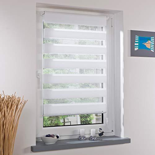 Gardinen Senay Klemmfix Duorollo, Doppelrollo mit verstellbaren Klemmträgern, Breite: 40 cm/Länge: 150 cm, Farbe: weiß