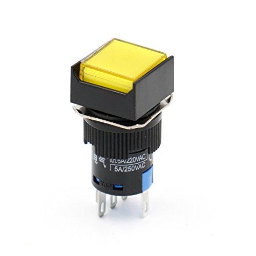 Heschen 16 mm quadratischer Druckknopfschalter 1NO 1NC 220 V LED Lampe 5 Stück, gelb, 5