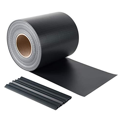 Sekey PVC Sichtschutzstreifen Rolle Zaunfolie Blickdicht Anti-UV Wetterfest und Anti-Fading Windschutz für Doppelstabmatten Zaun mit 26 x Befestigungsclips 19 cm x 50 m Anthrazit
