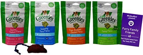Feline Greenies Dental Crunchy Treats for Cats 4 Flavor Variety Pack - (1 Each): Chicken, Tempting Tuna, Savory Salmon, Catnip (2.1 Ounces) - Plus Catnip Toy and Fun Animal Facts Booklet Bundle