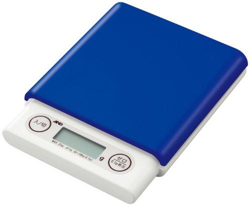 A&D デジタルホームスケール 3kg ブルー UH-3201-BL ≪ひょう量:3000g 最小表示:0.1g(0.5~100g)/1g(2~3000g)≫