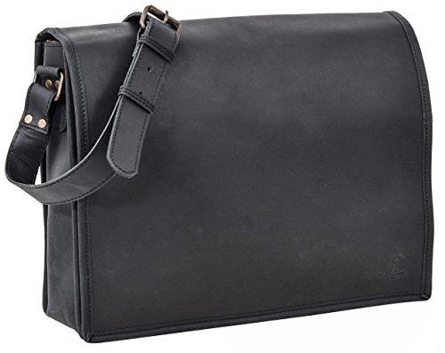 Gusti - Custodia in pelle Studio Mitch per laptop da 15', colore: Nero