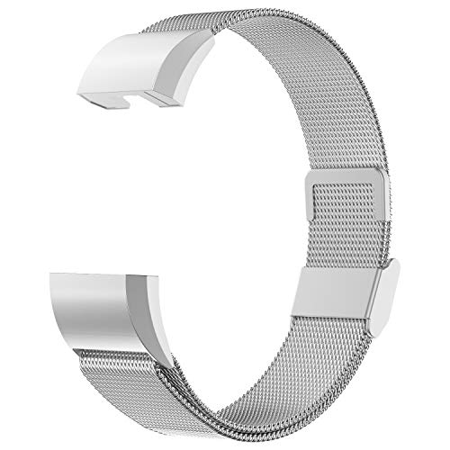 Adepoy für Fitbit Charge 2 Armband, Metall Edelstahl Ersatzarmband Kompatibel mit Fitbit Charge 2 Fitness Tracker, Fitbit Charge2 Armbänder (Silber, Klein)